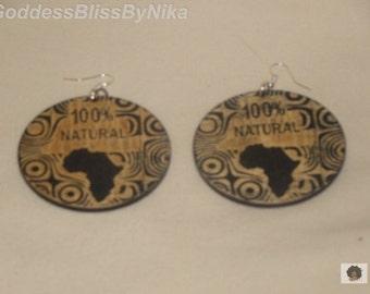 African Map Drop Earrings