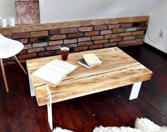 Modern Rustic  farmhouse style Coffee Table Reclaimed wood white corian legs  Decor Handmade end table