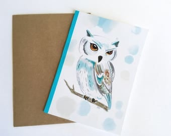 Vow card, watercolor owl card, gift, bleu owl card, watercolor card, small Print, owl