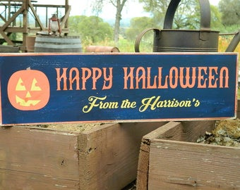 """Distressed Primitive Country Wood Sign - Your Name Happy Halloween sign  5.5"""" x 19"""""""