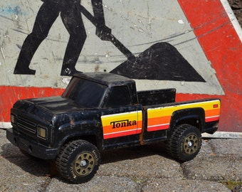 80s Vintage Black Tonka Pick Up Truck | Tonka Toys | Stamped Metal Toys | Mighty Tonka Edition | Push & Pull Toys | Collectible Toys