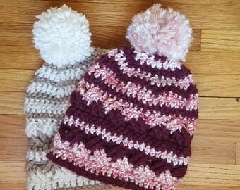 Pink Hat, Crochet Hat, Women's Hat Trendy, Women's Beanies, Winter Hat, Pom Pom Hat