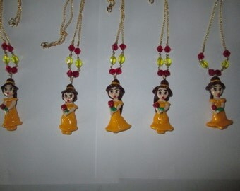 Beauty and the Beast Hand Made Polymer Clay Chibi Clay Charm Pendant Necklace