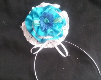 RESERVED for ELIZABETH Blue Ribbon and Lace Flower Medallion, Handmade Ribbon and Lace Medallion, 3D Ribbon Flower Medallion
