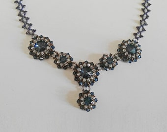 Luxury  vintage montana blue swaroski 14mm rivoli crystal beaded necklace  for evening dresses chain with blink