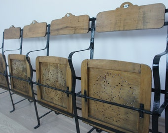 Vintage Metal and Wood Cinema Seats