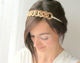 Gold bridal headpiece, wedding hair accessory, wedding tiara, wedding headband, bridal headband, wedding headpiece, wedding hair band gold