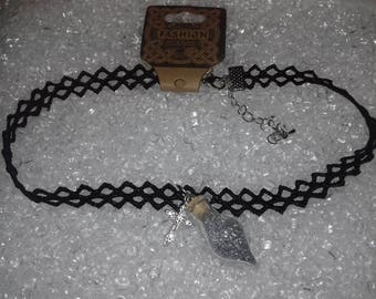 Black lace fairy dust choker
