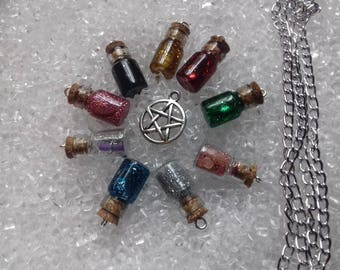 Witchy glitter charm necklace