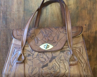 Vintage tooled 60s or 70s made in mexico handbag