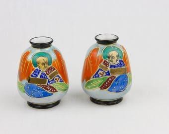 Set of 2 Samurai Vases Made in Japan Hand Painted Moriage Mini Vases