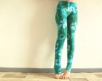 Green leggings size S tie dye leggings, pants, yoga pants, yoga leggings, Pilates