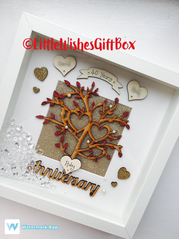 Ruby wedding anniversary tree box frame silver