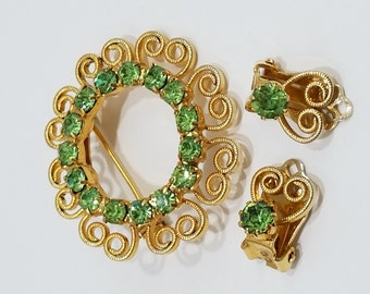 Gorgeous Gold Filigree and Green Rhinestone Brooch & Clip Earring Set
