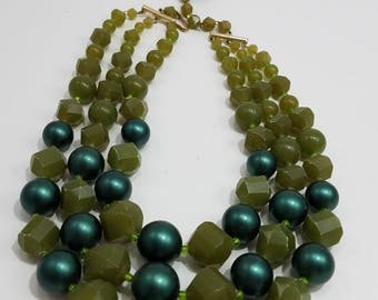 Bold Green Faux Pearl & Plastic Triple Strand Necklace from Germany