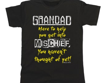 GRANDAD MISCHIEF Mens T-Shirt Gift Birthday Fathers Day Christmas Grandfather