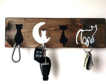 Jewelry holder, Keychain, jewelry holder, key, key storage, storage for jewelry, decor, wood, black and white cat
