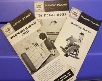 Circa 1950-1960 Handy Plans for Child's Wardrobe, Rocking Horse, and Toy Storage