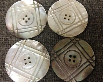 """1 5/8"""" Genuine Blacklip Mother of Pearl Carved Buttons"""