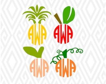 Fruit Monogram Toppers Cuttable Design in SVG; DXF; PNG; Ai; Pdf; Eps