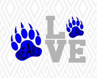 Bear Paw And Love Bear Cuttable Design in SVG; DXF; PNG; Ai; Pdf; Eps