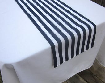 Navy  and White Stripe Table Runner - Wedding, Birthday, Graduation, Bridal Shower, Baby Shower, Nautical