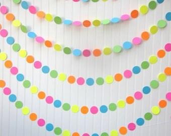 Paper Circle Garland - Neon - Photo Prop- 60's  Birthday  Party-  Bridal Shower - First Birthday- Backdrop - Wedding