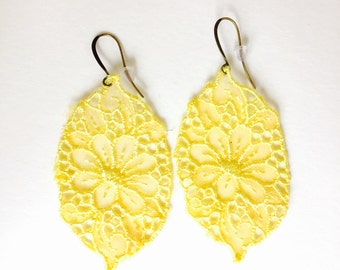 large yellow lace earrings