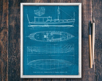 Lake House Decor, Blueprint Wall Art, Printable Download, Ocean Coastal Art, Nautical Print Decor, Instant Download Cabin Sign (PDXC16530b)