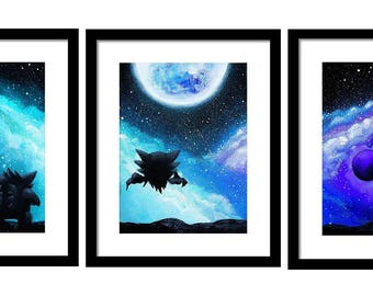 Digital copy )Gastly,Haunter and Gengar under the moon pokemon Paintings set