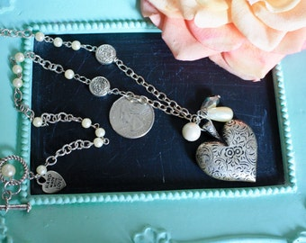 Silvertone Puffy Heart Pendant Necklace