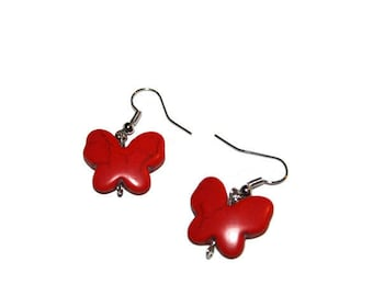 Butterfly Earrings, Red Earrings, Howlite Earrings, Gemstone Earrings, Cute Earrings, Cute Jewelry, Gemstone Jewelry, Butterfly Jewelry