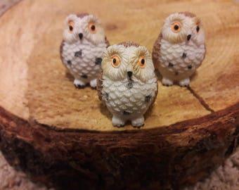 Owl miniature white barn owl with tan fairy garden decoration terrarium decoration miniature resin bird