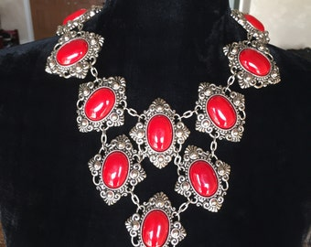 Massive silver and red hand made Necklace