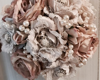 Wedding Bouquet, Brides vintage lace roses with jewels shabby chic hessian bound handle
