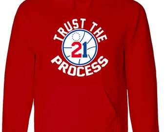 "RED Joel Embiid Philly ""Trust the Process"" HOODED SWEATSHIRT"