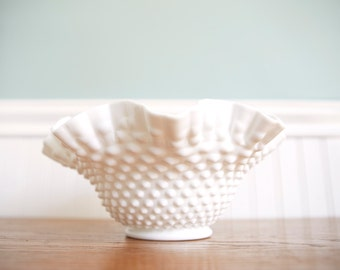 Farmhouse Milk Glass Bowl-Hobnail Milk Glass Vase - Wedding Centerpiece- Milk Glass Statement Piece- Vintage Bowl