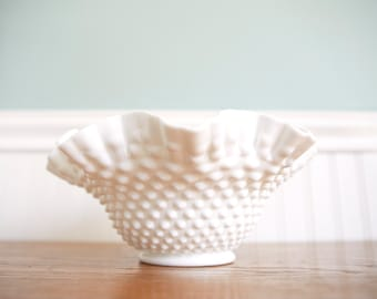 Milk Glass Bowl-Hobnail Milk Glass Vase - Wedding Centerpiece- Milk Glass Statement Piece- Vintage Bowl