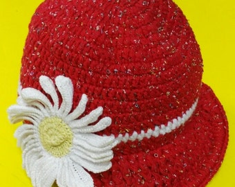 Red hat with visor with daisy flower made by me/Red Hat with visor with crocheted Daisy flower made by me crochet
