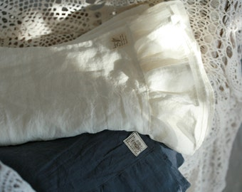 Washed linen pillow cases set of 2 with ruffled hemlines, various sizes and colors