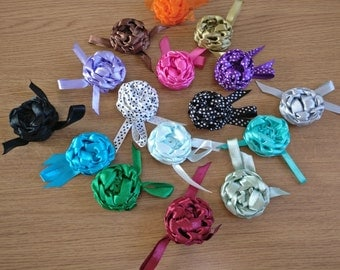 Brooch rose - Satin ribbon - handmade