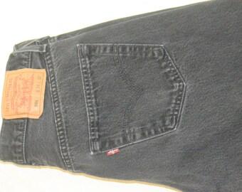 Vintage Men's Black Denim Levis 501 Button Fly Jeans - Waist 34