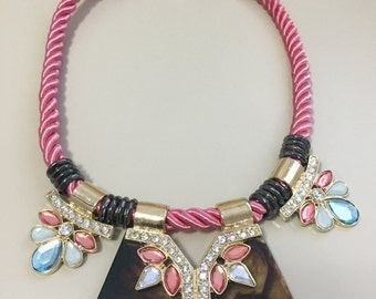 Fashion pink rope chain  necklac austrian crystal