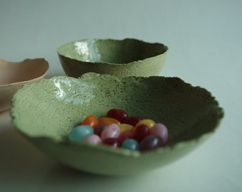 Green ceramic bowl, handmade.