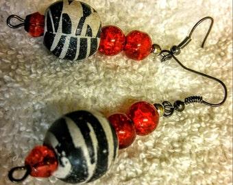 Zebra Print Beaded Drop earrings