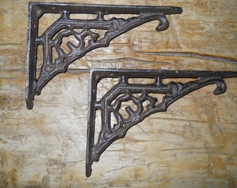 12 Cast Iron Antique Style Art Deco Brackets, Garden Braces Shelf Bracket