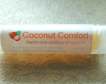 Coconut oil lip balm with vitamin E.  0.17 oz