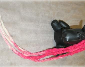 Long Transitional DE(doubleended) crochet pink/white dreads
