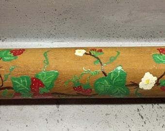 Vintage Hand painted wood rolling pin strawberry Vines folk art pastry roll