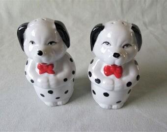 Pair Dog Salt and Pepper Shakers Vintage Ceramic